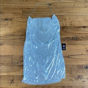 Express silver heavy sequin dress
